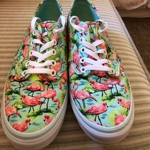 Women's size 9.5 vans. Turquoise with flamingos